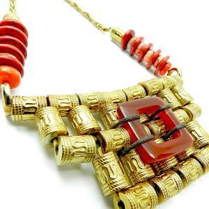 Big ornate tribal statement necklac..