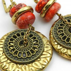 Red and gold tribal chunky earrings