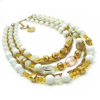 Multi strand necklace in white and gold beads