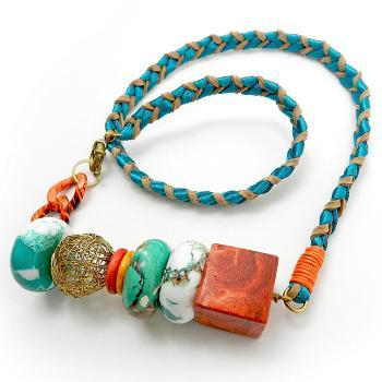 Bright colorful statement necklace with turquoise and coral gemstones