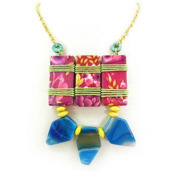 Bright colorful funky statement necklace - tribal jewelry