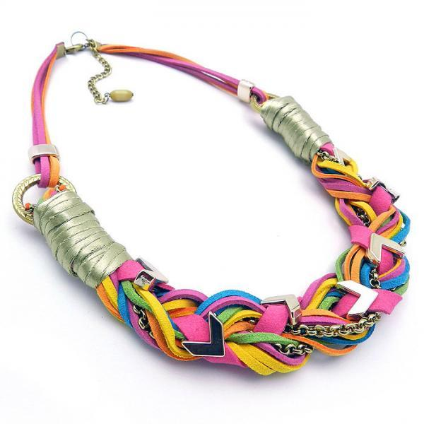 Plaited Braided Necklace, Rope Necklace Statement Necklace Colorful Braid Necklace Boho Tribal Necklace Bright Neon NecklaceTrendy Fashion Jewelry, African jewellery